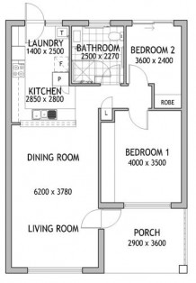 Leslie Court 2 Bed Floorplan